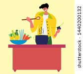 the guy cooks a healthy meal in ... | Shutterstock .eps vector #1440200132