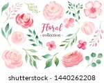 Roses and laurel branches hand drawn watercolor raster set. Floral isolated illustrations pack. Pink cherry blossom aquarell drawing. Colorful wedding invitation graphic design element