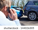 driver making phone call after... | Shutterstock . vector #144026305
