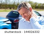 driver suffering from whiplash... | Shutterstock . vector #144026332