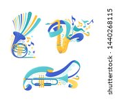 brass musical instruments flat...   Shutterstock .eps vector #1440268115