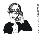 retro cute girl woman on phone  ... | Shutterstock .eps vector #144027952