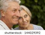 nice elderly couple in the... | Shutterstock . vector #144029392