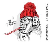 funny monkey in a red hipster... | Shutterstock .eps vector #1440311912