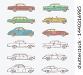 Set Of Various Classic Cars In...