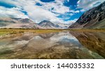 majestic mountains with... | Shutterstock . vector #144035332