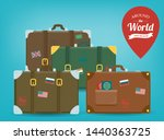 travel luggage set. travel and... | Shutterstock .eps vector #1440363725