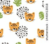 Seamless Pattern With Cheetah...