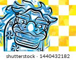 card of funky shishimai yellow... | Shutterstock . vector #1440432182