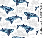 vector wild whale with tribal... | Shutterstock .eps vector #1440527495