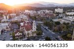 Sunset aerial view of downtown Riverside, California.