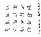 lunch line icon set. vegan... | Shutterstock .eps vector #1440566708