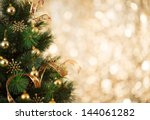 Gold Christmas Background Of D...