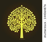 gold bodhi tree in thai art... | Shutterstock .eps vector #144064876