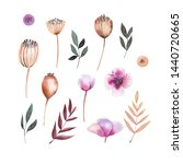 Watercolor Set With Pink And...