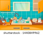 dirty sink with kitchenware of... | Shutterstock .eps vector #1440849962