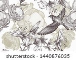 flying bird on a floral...   Shutterstock .eps vector #1440876035