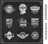 coffee logo vintage shop stamp... | Shutterstock .eps vector #144090028