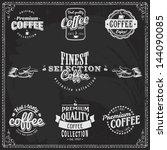 coffee logo cafe bean shop... | Shutterstock .eps vector #144090085