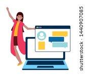 woman laptop computer chatting... | Shutterstock .eps vector #1440907085