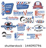 set of barber shop signs ... | Shutterstock .eps vector #144090796