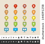 hand drawn style gps pin and...   Shutterstock .eps vector #144091258