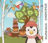 penguin cartoon with happy... | Shutterstock .eps vector #1440919535