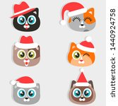 icons of cats with christmas... | Shutterstock . vector #1440924758