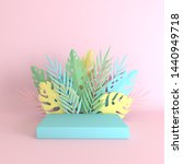 tropical paper palm  monstera...   Shutterstock . vector #1440949718