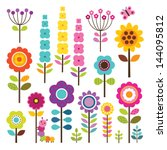 Stock vector set of retro style flowers and insects in bright colors includes caterpillar and butterfly 144095812