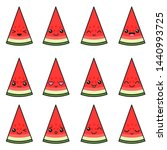 set of watermelons with... | Shutterstock .eps vector #1440993725