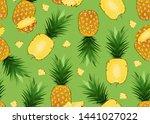 pineapple seamless pattern...   Shutterstock .eps vector #1441027022