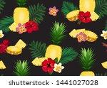 pineapple seamless pattern in...   Shutterstock .eps vector #1441027028