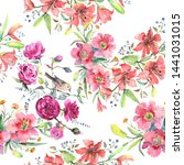 bouquet botanical flowers with... | Shutterstock . vector #1441031015