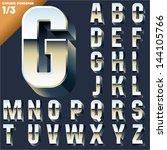 vector alphabet of simple 3d... | Shutterstock .eps vector #144105766