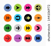 16 arrow sign icon set. black...