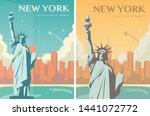 statue of liberty banner set.... | Shutterstock .eps vector #1441072772