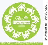home. go green. save world.... | Shutterstock .eps vector #144107302