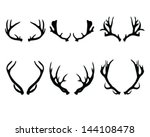 silhouettes of deer antlers... | Shutterstock .eps vector #144108478