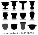 Silhouettes Of Flowerpots  And...