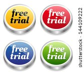 colorful free trial buttons | Shutterstock .eps vector #144109222