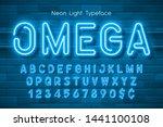 neon light 3d alphabet  extra... | Shutterstock .eps vector #1441100108