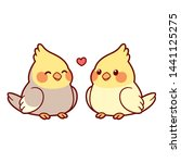 Cute Cartoon Cockatiel Couple...