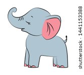 Stock vector cute baby elephant with trunk up isolated hand drawn vector illustration 1441153388