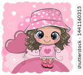 greeting card cute cartoon girl ...   Shutterstock .eps vector #1441160315