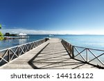 Wooden Pier In Caribbean Sea