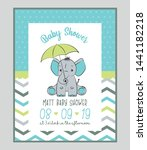 baby shower card with cute baby ... | Shutterstock .eps vector #1441182218