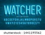 neon light 3d alphabet  extra... | Shutterstock .eps vector #1441195562