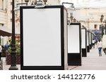 many blank billboards at city... | Shutterstock . vector #144122776