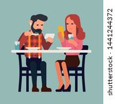 couple uses a phone while... | Shutterstock .eps vector #1441244372